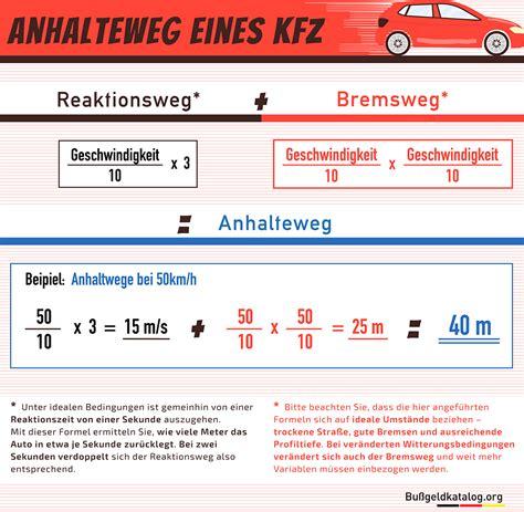Bremsweg Auto by Anhalteweg Reaktionsweg Bremsweg Fahrschule 2018