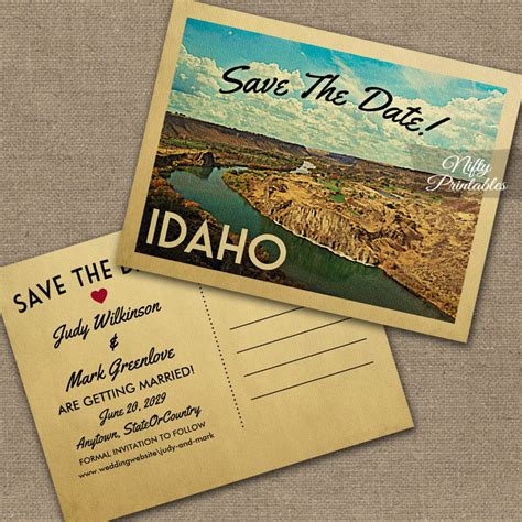 Idaho Wedding Invitations Printed by Idaho Save The Date Printed Nifty Printables