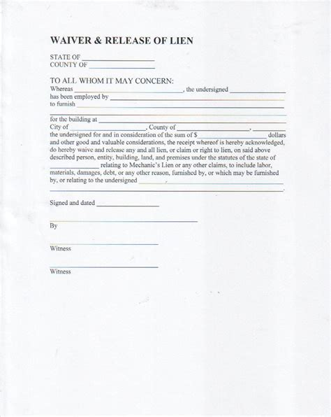 free lien waiver template best photos of waiver of property template liability