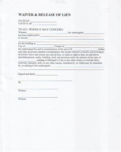 lien release forms lien waiver form