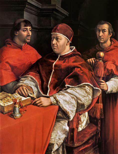 rafael retrato del papa le 243 n x con los cardenales giulio pope leo x with cardinals giulio de medici and luigi de