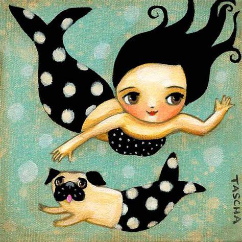 pug mermaid print of mermaid and mer pug swimming mermaids folk