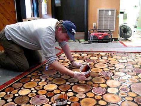 sanded wood discs floor epoxied beautiful floor
