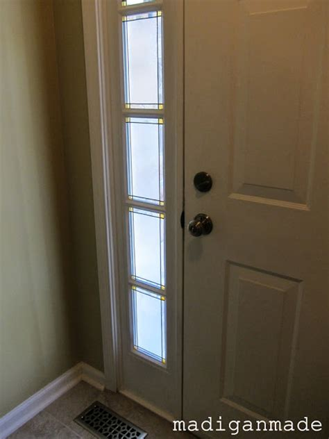 Adding Glass To Front Door Remodelaholic Adding Privacy To Sidelights Faux Stained Glass Diy