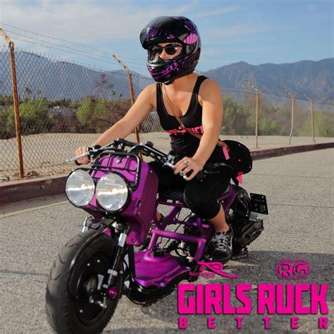 heather  portland oregon riding kris guicos custom honda ruckus  purple nurple