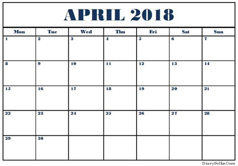 Free Calendar Template April 2018
