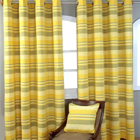 Ac184 8 Ready Blue And Yellow morocco striped ready made eyelet curtains beige blue