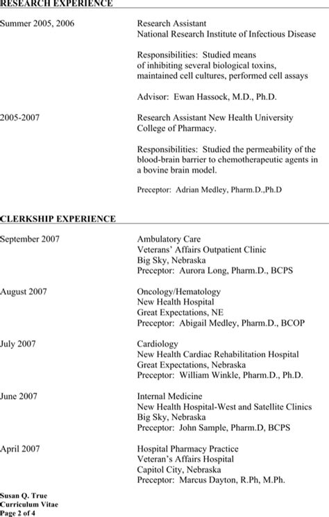 retail pharmacist resume sle retail pharmacist resume for free page 2
