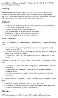 Apartment Rental Sle Resume by Professional Apartment Leasing Templates To Showcase