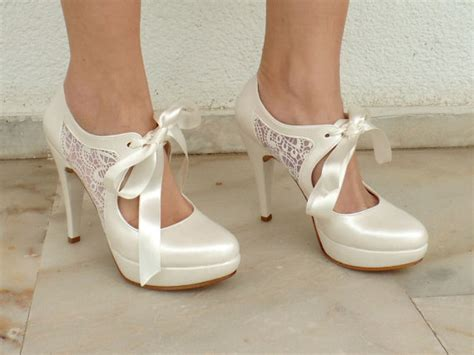 Schuhe Chagner Satin by Wedding Shoes Bridal Shoes With Ivory Sheer Lace And Satin