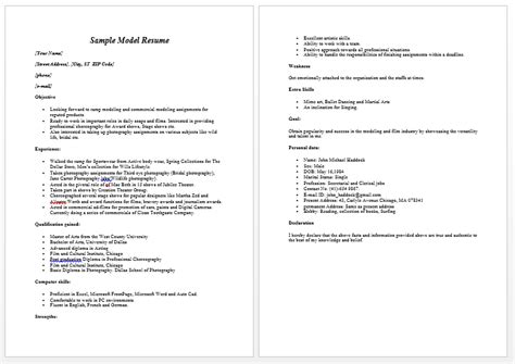 modeling resume template beginners model resume template learnhowtoloseweight net
