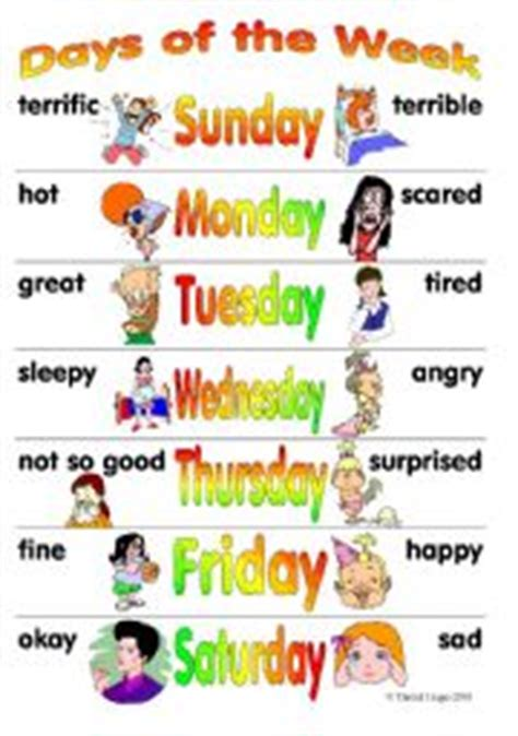 different days of week days of the week posters 2 different posters for boys and