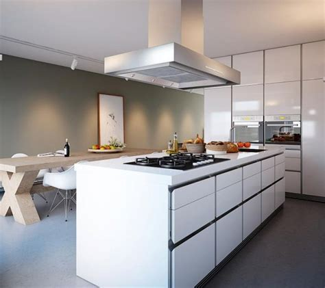 Modern kitchen island with white cabinets decoist