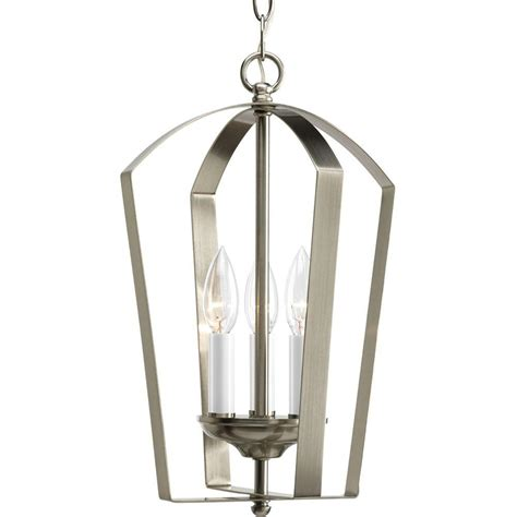 foyer pendant progress lighting gather collection 3 light brushed nickel
