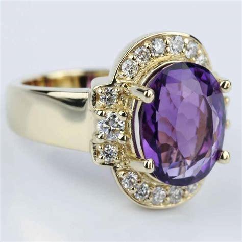 amethyst gemstone statement halo ring in yellow gold