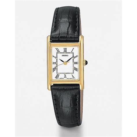 seiko s rectangular black leather 185