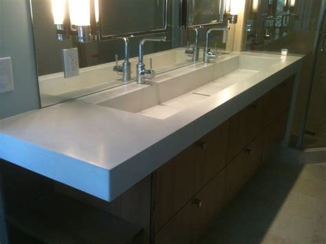 bathroom trough sinks concrete trough sink contemporary bathroom