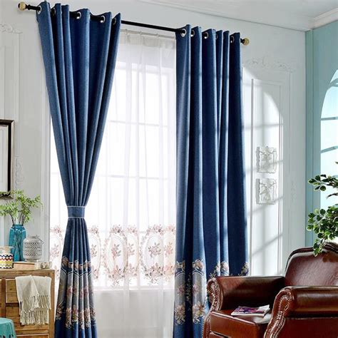 dark blue curtains bedroom european style dark blue linen and cotton floral