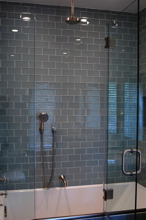 Glass Tile Bathroom Ideas by Gray Glass Subway Tile In Fog Bank Modwalls Lush 3x6