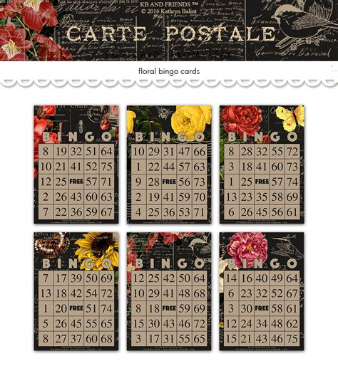 decorative printable postcards printable floral bingo cards decorative vintage black
