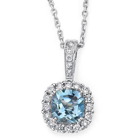 gold jewelers necklace aquamarine white gold