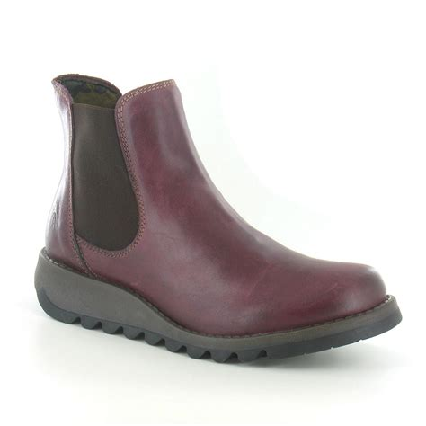 fly salv womens leather chelsea boot in purple at