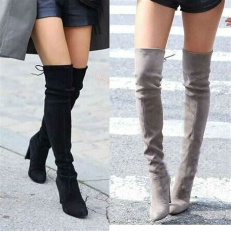 2017 stretch faux suede slim thigh high boots
