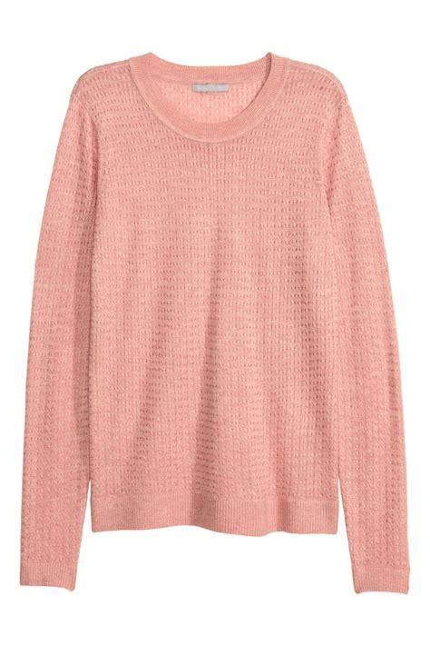 pattern knit sweater h m pattern knit sweater powder pink melange sale h m us