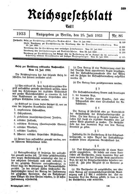 """""""Gesetz zur Vehütung erbkranken Nachwuchs"""" vom 14. Juli"""