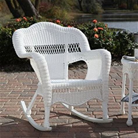 White Resin Wicker Chairs by All Weather Wicker Rocking Chair