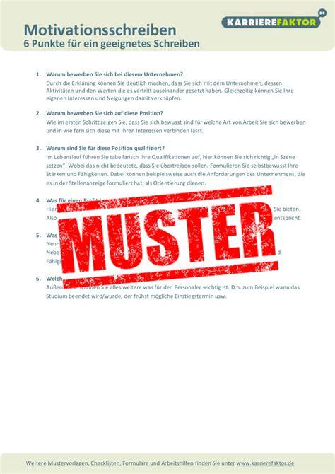 Anschreiben Checkliste Checkliste Motivationsschreiben Karrierefaktor