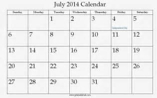 July 2014 Calendar Template by July 2014 Calendar Printable Printable Calendar 2014