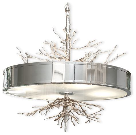 tree branch light fixture global views 9 91795 twig nickel transitional drum pendant light glv 9 91795