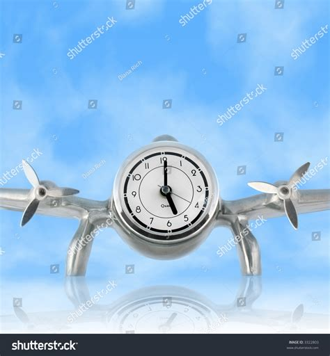 time flies reflections of airplane desk clock against blue sky with reflection concept time flies clock set to 5 00