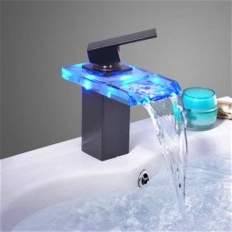 Chagne Bronze Kitchen Faucet Rubbed Bronze Color Changing Led Waterfall Bathroom Sink Faucet Touch On Bathroom Sink