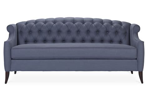 Tufted Blue Sofa Blue Plinth Based Sofa With Tufted Arms Tufted Blue Sofa