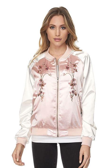 Pink Flower Jacket pink floral embroidered bomber jacket sincerely sweet boutique