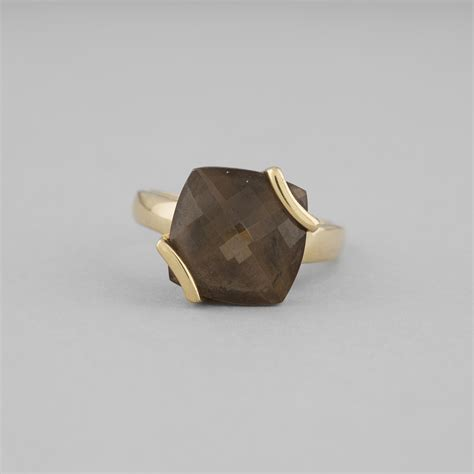 smoky quartz and yellow gold ring expertissim