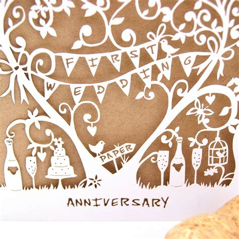 1st Year Wedding Anniversary Card by Wedding Anniversary Card Laser Cut Card By The