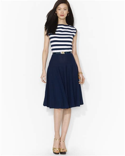 Rl Dress Glowing Blue lyst ralph cap sleeve belted dress in white