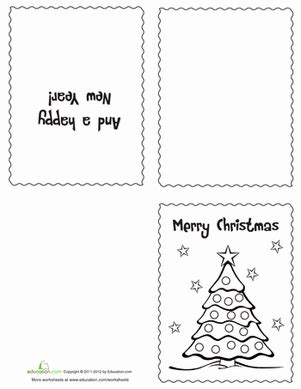 holiday card templates for pages color your own christmas cards worksheet education com