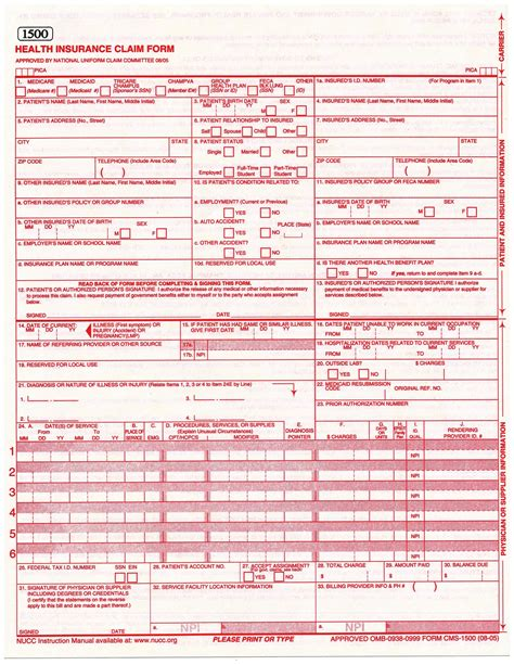 1500 health insurance claim form template business template