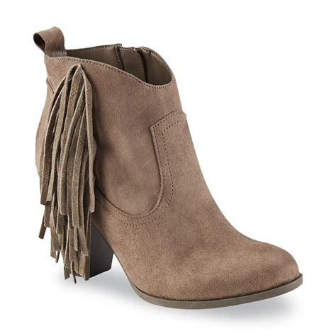 Boots Fashion Ad An 30 Wedges Hitam bongo s willow taupe fringe western ankle bootie