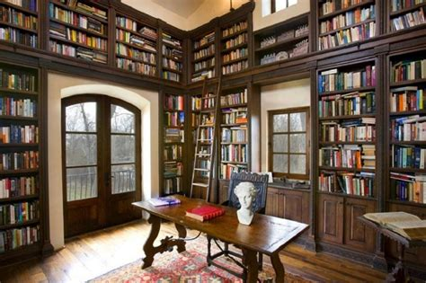 library house tuscan inspired home with two story library interior