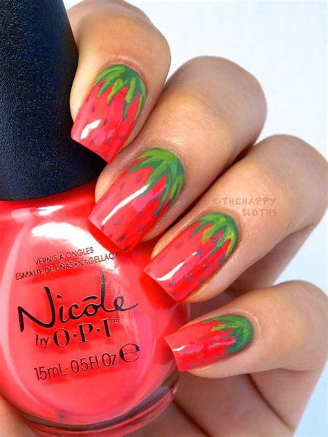 tutorial nail art strawberry strawberry design nails easy strawberry nail art design