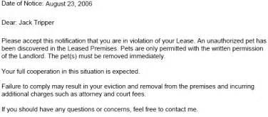 Lease Letter Pet Unauthorized Pet Lease Ez Landlord Forms