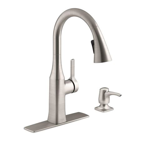 kohler faucet kitchen kohler rubicon single handle pull down sprayer kitchen faucet in vibrant stainless r20147 sd vs