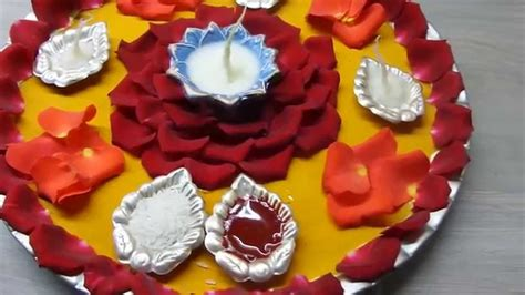 Decoration For Diwali At Home Aarti Thali Decoration With Diya Pooja Thali Youtube