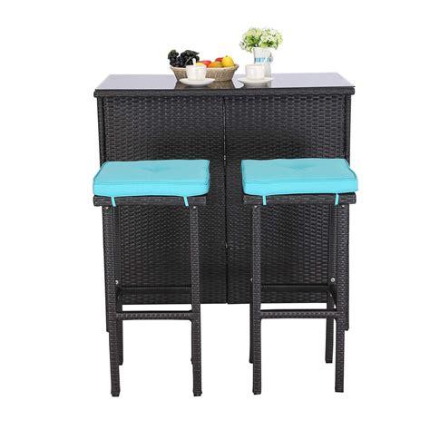 dou  pieces patio bar table set  weather outdoor
