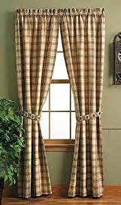 Country Cabin Curtains Pine Lodge Window Curtain Panel 84 Quot Pinecone Brown Green Gold Plaid Country Cabin Rustic